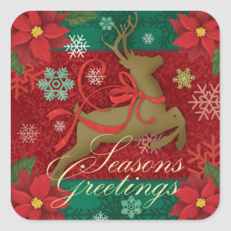 Festive Red Reindeer Stickers,Seasons Greetings Square Sticker