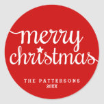 Festive Red Round Merry Christmas Sticker