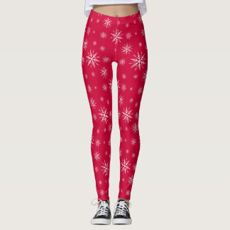 Festive Red Snow Holiday Print Leggings