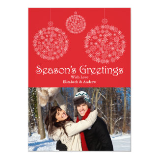 Festive Red Snowflake Ornament Holiday Photo Card
