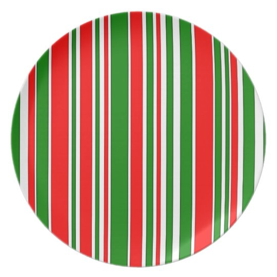 Festive Red, White and Green Stripes Pattern Plate