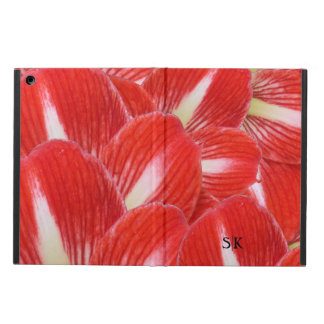 Festive Red Winter Amaryllis Floral Monogram iPad Air Covers