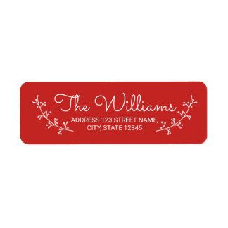 Festive Red with White Laurels Return Address Label
