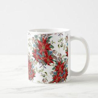 Festive Rich Red Poinsettia flower Mug