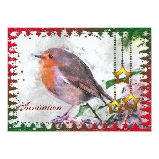 """Festive Robin Party Invitation 4.5"""" X 6.25"""" Invitation Card"""