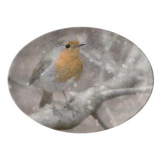 Festive Robin photograph Porcelain Serving Platter