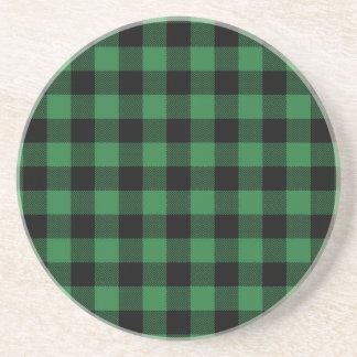 Festive Rustic Green Plaid Pattern Holiday Coaster