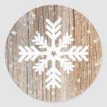 Festive Rustic Snowflake Merry Winter Sticker