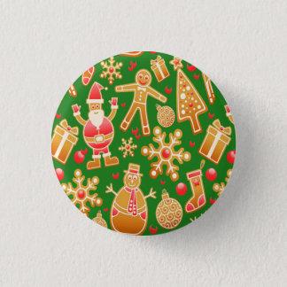 Festive Santa and Snowman Gingerbread 3 Cm Round Badge