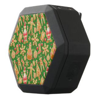 Festive Santa and Snowman Gingerbread Black Bluetooth Speaker