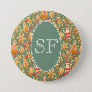 Festive Santa and Snowman Gingerbread Monogram 7.5 Cm Round Badge