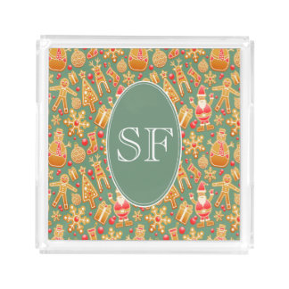 Festive Santa and Snowman Gingerbread Monogram Acrylic Tray