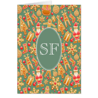 Festive Santa and Snowman Gingerbread Monogram Card