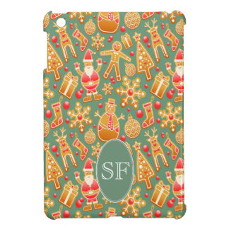 Festive Santa and Snowman Gingerbread Monogram Case For The iPad Mini