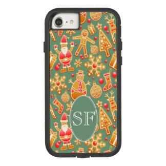Festive Santa and Snowman Gingerbread Monogram Case-Mate Tough Extreme iPhone 8/7 Case