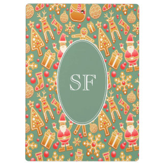 Festive Santa and Snowman Gingerbread Monogram Clipboard