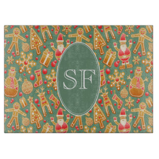 Festive Santa and Snowman Gingerbread Monogram Cutting Board