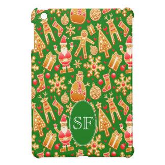 Festive Santa and Snowman Gingerbread Monogram iPad Mini Case