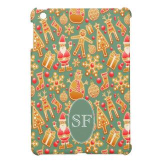 Festive Santa and Snowman Gingerbread Monogram iPad Mini Covers