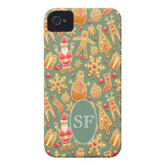 Festive Santa and Snowman Gingerbread Monogram iPhone 4 Case