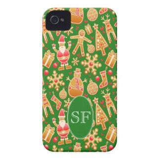Festive Santa and Snowman Gingerbread Monogram iPhone 4 Case-Mate Case