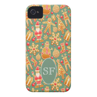 Festive Santa and Snowman Gingerbread Monogram iPhone 4 Cases