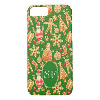 Festive Santa and Snowman Gingerbread Monogram iPhone 8/7 Case
