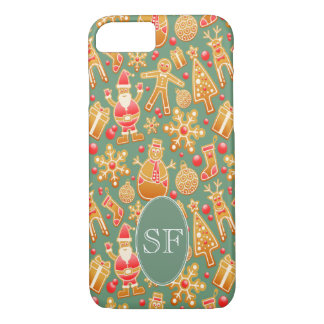 Festive Santa and Snowman Gingerbread Monogram iPhone 8/7 Case