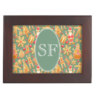 Festive Santa and Snowman Gingerbread Monogram Keepsake Box