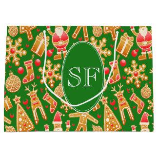 Festive Santa and Snowman Gingerbread Monogram Large Gift Bag