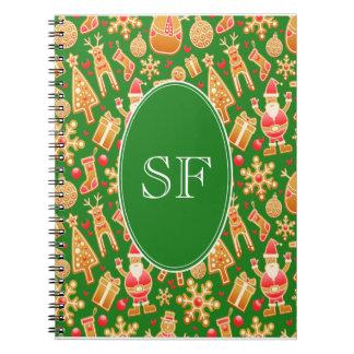 Festive Santa and Snowman Gingerbread Monogram Notebook