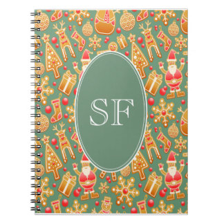 Festive Santa and Snowman Gingerbread Monogram Notebooks