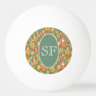 Festive Santa and Snowman Gingerbread Monogram Ping Pong Ball