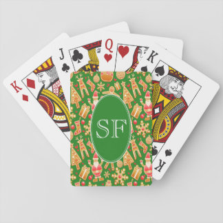 Festive Santa and Snowman Gingerbread Monogram Playing Cards