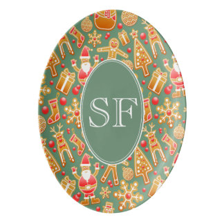 Festive Santa and Snowman Gingerbread Monogram Porcelain Serving Platter