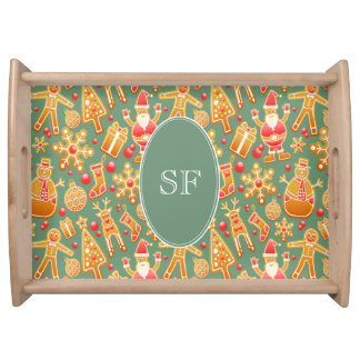 Festive Santa and Snowman Gingerbread Monogram Serving Tray
