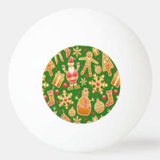 Festive Santa and Snowman Gingerbread Ping Pong Ball