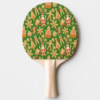 Festive Santa and Snowman Gingerbread Ping Pong Paddle