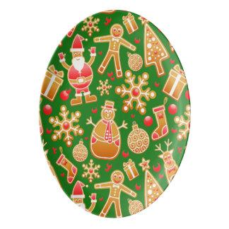Festive Santa and Snowman Gingerbread Porcelain Serving Platter