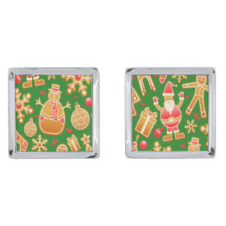 Festive Santa and Snowman Gingerbread Silver Finish Cufflinks