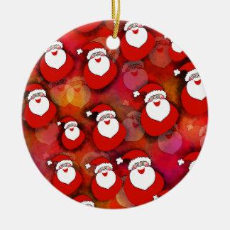 Festive Santa Claus Pattern Ceramic Ornament