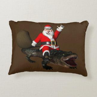 Festive Santa Claus Riding An Alligator Decorative Cushion