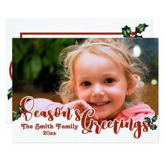 Festive Season's Greetings Calligraphy Photo Card