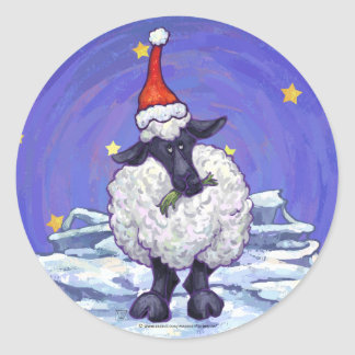 Festive Sheep Holiday Classic Round Sticker