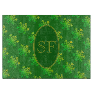 Festive Snowflake Green and Gold Monogram Cutting Board