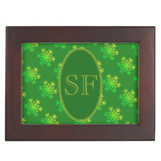 Festive Snowflake Green and Gold Monogram Keepsake Box
