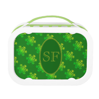 Festive Snowflake Green and Gold Monogram Lunch Box