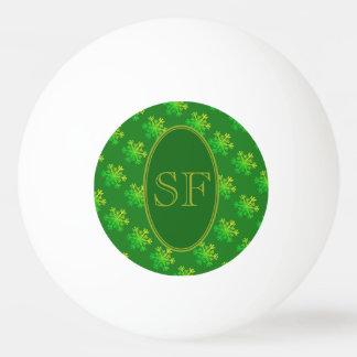 Festive Snowflake Green and Gold Monogram Ping Pong Ball