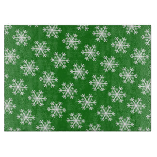 Festive Snowflake Green and White Cutting Board