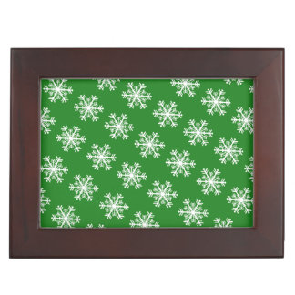 Festive Snowflake Green and White Keepsake Box